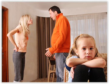 Image of little girl saddened by parents arguing