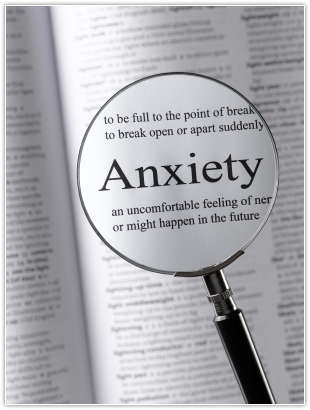 Image of magnifying glass looking at anxiety